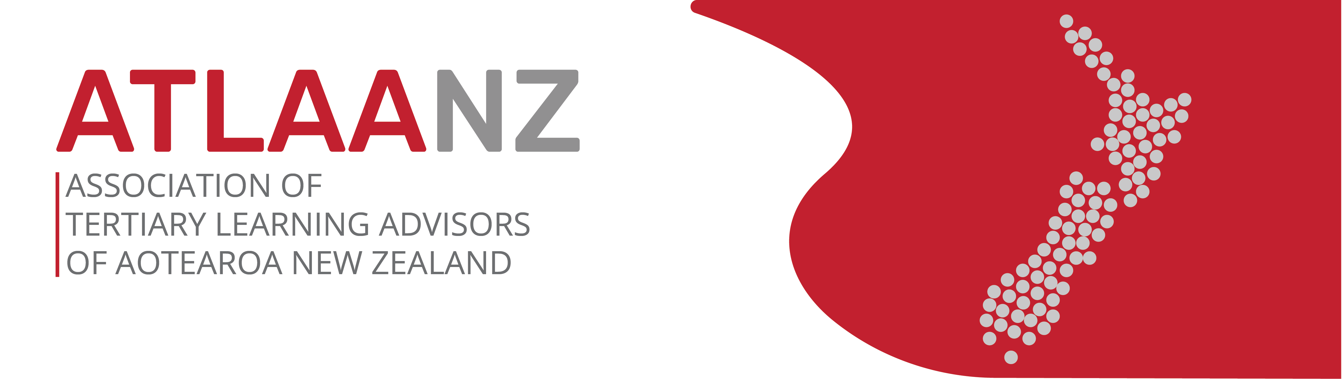 Logo for Association of Tertiary Learning Advisors Aotearoa/New Zealand, representing map of New Zealand